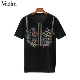 Wholesale Women Velvet Blouse - Vadim women vintage floral print velvet shirt short sleeve o neck black loose blouse female casual top blusas mujer DT1311