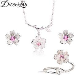 2019 collana di fiori di ciliegio 2019 Set di gioielli da sposa 925 Sterling Silver Pink Crystal Cherry Blossoms Flower Collane Orecchini Anelli per le donne sconti collana di fiori di ciliegio