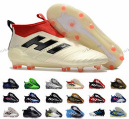 Wholesale Ups Ground - New Ace 17+ Purecontrol Champagne Outdoor Soccer Cleats Firm Ground Cleats Trainers Boost FG NSG ACE 17 Mens Football Boots Soccer Shoes