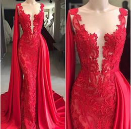 Jewel Lace Applique Red Sexy Evening Dresses рукавов Русалка Pageant Dresses длина пола 2018 на заказ старинные вечерние платья от Поставщики современные куртки