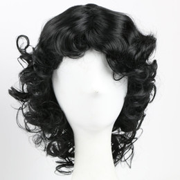 Wholesale Wavy White Cosplay Wig - Medium Black Cosplay Synthetic Wigs for Black Women White Women Men Wavy African American Wigs for Daily Use Heat Resistant Synthetic Wig