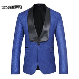 Wholesale Embroidered Wedding Jackets - Embroidered Paisley Floral Blazer Men Royal Blue Shawl Collar Wedding Stage Jacket Plus Size Slim Fit Mens Suit Jacket Tuxedos
