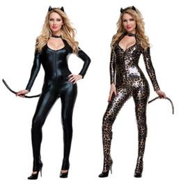 Cola de látex online-2019 New Sexy Fetish Club Wear Gothic Animal Tail Cat Tail Leopard Estampado de látex negro traje de cosplay Lame Catsuit