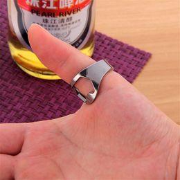 Wholesale Gift Tin Can - Gift Multifunction Silver Ring Bottle Opener Stainless Steel Finger Ring Bottle Opener Beer Bar Tools Kitchen Can Open Tin Opener