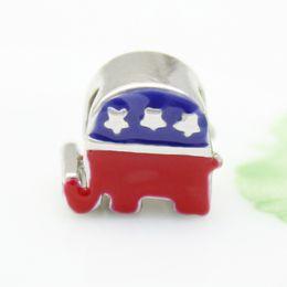 Argentina Esmalte rojo azul del elefante American Party Usa flag Espaciador de cuentas de metal europeo pulseras Pandora Chamilia Compatible Suministro