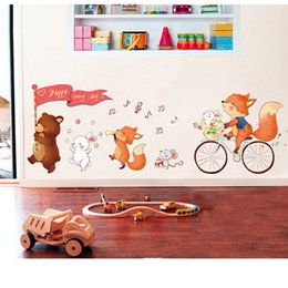 Wholesale Baby Girl Nursery Wall Decals - Wholesale New Removable Cute Bear Wall Stickers Art Decal Wall Post Nursery Girl Baby Children Bedroom Decor
