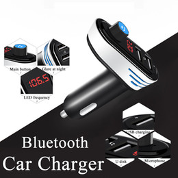 Wholesale Bluetooth Adapter For Tablet - Universal Bluetooth Car Charger Adapter Bluetooth FM Transmitters Audio Music Player Dual USB for Cell Phone U Disk Tablet