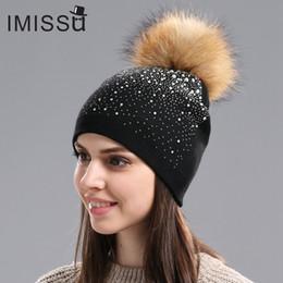 64c57c6fd49c6 crystal beanie 2019 - IMISSU Winter Women s Hats Knitted Wool Casual Mask  Raccoon Fur Pom Pom