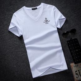 manica lunga del manicotto v del collo del collo v Sconti 2018 Nuova estate Solid T Shirt da uomo Moda scollo a V T-shirt manica lunga Abbigliamento da uomo Trend Casual Slim Fit Top Tees Plus Size5Xl