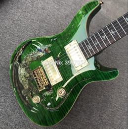 Doble bloqueo de la guitarra eléctrica online-1999 Custom 22 Reed Smith Dragon 2000 Green Flame Maple Top Guitarra eléctrica Abalone Birds Inlay, doble bloqueo de trémolo, madera encuadernación del cuerpo
