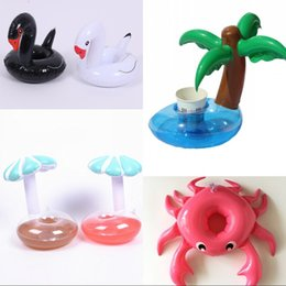 Wholesale disposable mats - Summer Beach Inflatable Cup Holder Unicorn Pineapple Mushroom Crab Fun Drink Coaster Fun Swimming Floats Mat 2 7cs WW