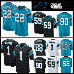 f8192e94f69 Stitched 22 Christian McCaffrey jersey Carolina Panthers 1 Cam Newton 59  Luke Kuechly 90 Julius Peppers 88 Grey Olsen 58 Thomas Davis mens