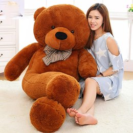 "Wholesale Teddy Bear 72 - New arrival 6.3 FEET TEDDY BEAR STUFFED LIGHT BROWN GIANT JUMBO 72"" 160cm birthday gift purple 5 colour choose free shipping OTH749"