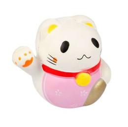 Fascino del telefono delle cellule del gatto online-Hot 10 cm Kawaii Fortune Cat Jumbo per amuleti soffici Morbidi panini portachiavi Ciondolo per cellulare Ciondolo per cartoni animati Bambola carina collezione