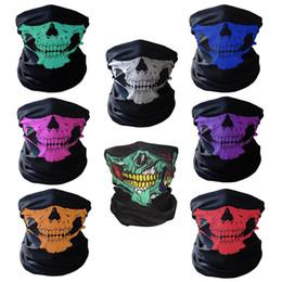 Protectores de cara de bicicleta online-Skull Neck Face Mask Mujeres Bufandas bufanda motocicleta bicicleta deportes al aire libre Máscara Head Hood Protector Bandanas regalo de Halloween
