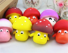 Wholesale mushroom charms pendants - Squishy Mushroom 9cm Slow Rising Toy Decompression bread Relieve Stress Sweet Fruit Cell Phone Strap Phone Pendant Key Chain Toy Gift