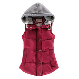 Otoño Invierno Solid Women Basic Coats Sexy All-Match Chaleco de algodón Patchwork sin mangas con capucha Casual Colete Down Jacket desde fabricantes