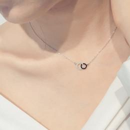 pendentifs cercle en argent sterling Promotion Collier en argent sterling 925 avec deux zircons et collier en argent sterling pour les femmes