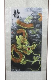Wholesale Scroll Wall Hangings - Wholesale Cheap Yellow Dragon  Great Wall tiger Plum blossom Hanging Scroll Painting Home Decor Housewarming Gift 6 style options