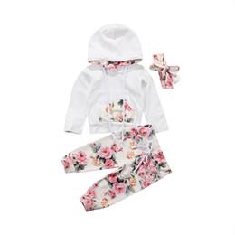 Le ragazze di tuta con cappuccio online-2018 Brand New Infant Toddler Neonate Ragazze Vestiti vestito floreale Tuta Con cappuccio Top + Leggings Pantaloni Fascia 3 Pz Set