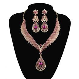 Canada Style indien bijoux en cristal définit mariage nuptiale collier de mariage boucles d'oreilles strass couleur rose délicate bijoux pour les femmes cadeau Offre
