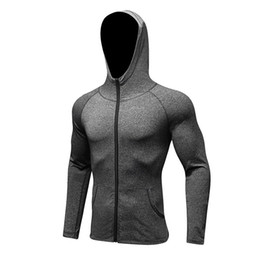 Wholesale Winter Running Shirts - Wholesale- Winter Tracksuit Running Shirt Zipper Hoodies Mens Jacket Coat Compression Shirt High Quality Mens Sweatshirt