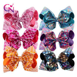 Wholesale Christmas Gift Bows Wholesale - 8 Inch Big Colorful Boutique Dragon Fish Scale Fashion Hair Bow On Clip Christmas Gifts Hair Clips