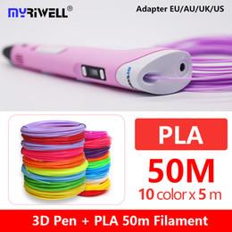 Plástico abs pla online-Originele Myriwell 3D pluma rp100b + gratis PLA filamento abs 3D pluma 3d + 50 m pla 1.75mm impresora de plástico regalo de cumpleaños para niños