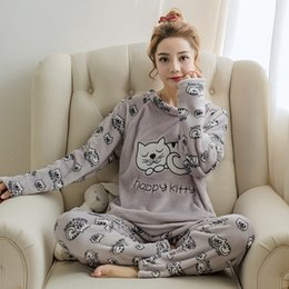 Wholesale Pajamas Cat Print - flannel winter women warm printing cartoon cat pajamas with long sleeve long pant plus thick O neck home wear suit Pajama Sets