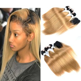 hair dye hairstyles Coupons - Cheap New Hairstyle Ombre Colored Human Hair 3 Bundles With Top Lace Closure Straight 1B 27 Ombre Honey Blonde Total Weight 190-235g Lot