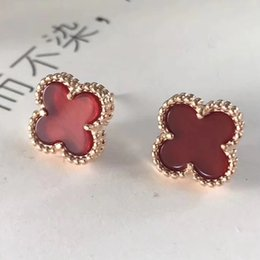 Wholesale Clover Earrings Black - Genuine Clover Earrings With VCA Jewelry 925 Sterling Silver Earrings Stud Earrings 925 Silver Women's Day Gifts