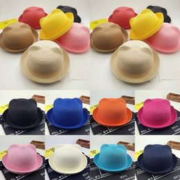 Wholesale crochet cat ears - New Baby Straw Hat Summer Kids Cat Ear Decoration Lovely Beach Cap Children Character Girls Boys Solid Sun Hat casquette BBA361