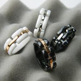 Wholesale Unique Wedding Ring Set Gold - HIGH VERSION France Ceramic ring Brand C logo Black & White Ceramic Women wedding party rings Young&unique&distinctive ring