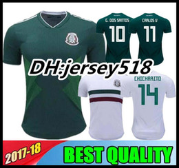 Wholesale Football Mexico - 2018 world cup Mexico Soccer Jersey Home Away 17 18 Green CHICHARITO Camisetas de futbol Hernandez G DOS SANTOS football shirts