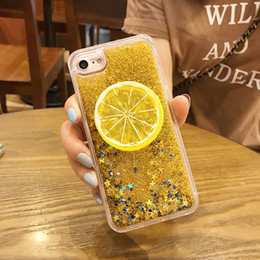 Casi di glitter iphone6 online-Moda fresca 3D Lemon Bling Glitter Phone Cases per iPhone 7 6 6S Plus Clear Liquid Liquid Quicksand Cover per iPhone6 ​​8 Coque