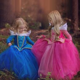 frühling karneval kleider Rabatt NEUE Mädchen Dornröschen Prinzessin Kostüm Frühling Herbst Mädchen Kleid Rosa Blau Prinzessin Aurora Kleider für Mädchen Party Kostüm
