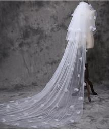 Hochzeit schwanz schleier online-Neue Brautschleier Braut Hochzeit koreanischen langen Schwanz Rosenblättern Blume Schleier direkt Brautschleier