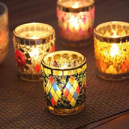 copos de vela de vidro Desconto Pequeno Copo de Vidro Castiçais Crack Castiçal de Mosaico Decoração de Casa Jantar Presentes da Festa de Casamento Decoração Bar Nenhuma Vela Livre DHL WX9-320