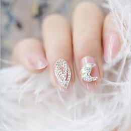 Wholesale 24PCS set poudre de gelée de bijoux de lune D fini faux ongles petite tête ronde