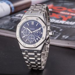 Relojes reales online-De calidad superior que vende hombres reloj de lujo real todos los trabajos de cuarzo de cuarzo de trabajo de subdialización famosa marca de acero inoxidable roble regalo para hombres