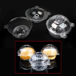 2019 envase de la caja de pastel de la magdalena Transparente Muffin de plástico solo Cupcake Cake Container Case Dome Holder Box Desechable transparente transparente de grado alimenticio de plástico envío gratis envase de la caja de pastel de la magdalena baratos