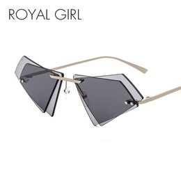 Wholesale unique yellow - ROYAL GIRL Unique Rimless Sunglasses Women Men Small Triangle Red Yellow Pink Sun Glasses Candy Colors Double Lens Shades ss005