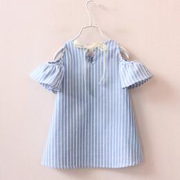 2019 le camicette estive delle ragazze si vestono 2018 Blue Stripe Summer Bambini Neonate vestono in cotone a maniche corte a maniche corte a righe camicette da spalla per le ragazze sconti le camicette estive delle ragazze si vestono