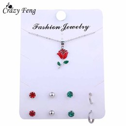 Wholesale Crazy Flowers - Crazy Feng Red Flower Enamel Jewelry Sets Fashion Chain Necklace Stud Earrings Set For Women Mujer Silver Color Party Set Bijoux