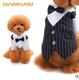 Indirim cute cats costumes - Pet Köpek Giysileri Kedi Prens Düğün Suit Sevimli Çizgili Yay Kostüm Beyefendi Chihuahua Smokin Papyon Yavru Coat Malzemeleri Evcil