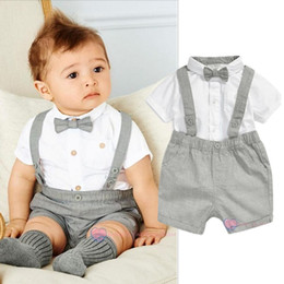 Wholesale turtleneck t shirts short sleeve - Mini Gentleman Baby Clothing Set Baby Boy Short Sleeve T-shirt with Bow + Overalls Newborn Clothes