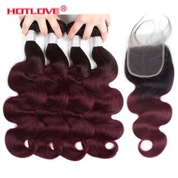 Wholesale only professional - Ombre Bundles With Closure Professional Pre Colored 1B 99J Wine Red Brazilian Body Human Hair 4 Bundles With Closure Ombre Hair Extensions