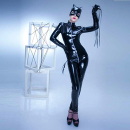 Wholesale Erotic Role Play Costumes - 2017 New Sexy Catwoman Cosplay For Women Hat Gloves 2 Ways Zipper To Crotch Erotic Jumpsuit Vinyl PVC role-playing Sexy Costumes