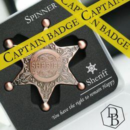 Wholesale Child Fantasy - Badge Spinner Captain Metal Retro Decompression Toys Rotation Sheriff Fidget Bronze Relax Stuff for Children Kids