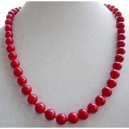 coral rojo redondo de 8mm Rebajas Collar de cuentas redondas de coral rojo mar del sur de 8 mm, 18 pulgadas, 14 quilates de oro SÓLIDO CLASP